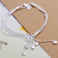 Luxury Fashion 925 Silver Bracelet Jewelry ! Trendy Women Men Beautiful Five Hearts Pendant Chain Bracelets H067
