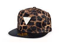 Leopard PU Leather Fashion Hip-Hop Snapback Cap Bboy Club Swag hats