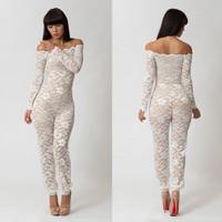 Fashion New Elegant White Lace Wedding Jumpsuit Cocktail Party Romper Off Shoulder Playsuit Clubwear Pants