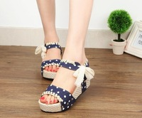 Lady sandals 2014 summer women hasp wedges sandals girls sweet platform wedges open toe shoes