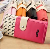 Cartoon Beard Clutch Checkbook Change Coin Bag Women Purse Handbag Wallet 2014