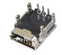 Free shipping 100 / lot Mini USB Female 5Pin PCB Socket Connector 4 Legs