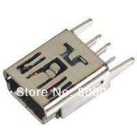 Free shipping 100 / lot Mini USB Female 5Pin Socket Connector vertical Legs