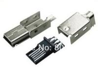 Free shipping 100 / lot Mini USB Type-B Male 5Pin Three-piece Socket Connector
