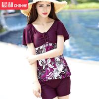 Open the poem chuanwei swimwear female tripe spa short-sleeve dress style split plus size plus size