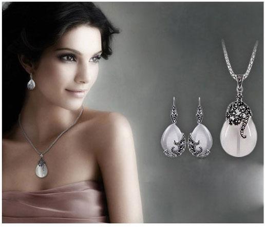 """New retrò argento moda opale acqua goccia pendenti fiore collane lunghe goccia orecchini set di gioielli mais catene 30"""""""