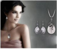 New Retro Silver Fashion Opal Water Drop Flower Pendants Long Necklaces And Drop Earrings Jewelry Sets Corn Chains 30""