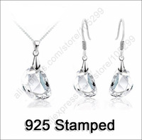 Jewely Sets Waterdrop Shaped Crystal Wedding Engagement 925 Sterling Silver Earring Necklace Women Party Gift