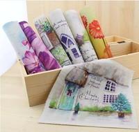 7 Assorted Designs 'Watercolor Landscape' Digital print  Fabric Thick Cotton&Jute base fabric 19cmx20cm DIY handwork