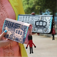 W04 New 6 color brand vintage clutch long wallet for women , High quality pu leather fashion women purses