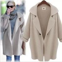 2014 Cotton Women Fashion Casual Cardigan Loose Pocket turn-down collar Sweater Top Brand Free Shipping XTS014