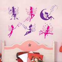70*100cm 1 Piece 6 Flower Angel Fairy Cute Art Wall Stickers Decal Room Kids Girl Nursery Decor Wallpaper DIY Free shipping