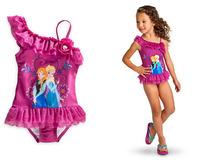 2014 New frozen dress girl  Elsa Anna dresses baby Swimwear Swimsuit One Piece Girls Swimsuit Bikini Bathing Suit
