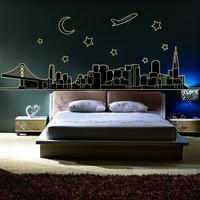2014 New Arrival! Creative DIY Luminous Fluorescent Wall Sticker City Night View Glow in the Dark Vinyl Decal TV/Sofa Background