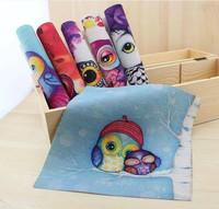6 Assorted Designs 'Hand Cute Owl' Digital Print  Fabric Cotton&Linen Thick base fabric 19cmx20cm Manual dyeing cloth