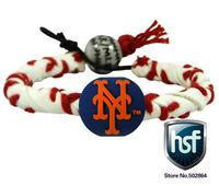 2014 New Friendship Health Sport New York Mets Genuine Baseball Leather Bracelet Lot