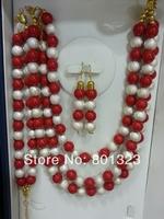 Promotion!!2014 Hot sale beaded handmade big set ,  beads jewelry set, redcolor
