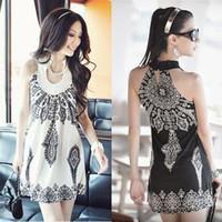 bohemia vintage sleeveless mini women sexy  clubwear dress Y0012