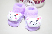 Free Shipping Cute Cartoon Baby Socks Bear Manual Slipper Shoes Newborn to 5 Month Autumn Winter Infant Gift Fress Shipping