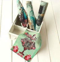 4 Assorted Designs 'Vintage Style' Digital Print  Fabric Cotton&Linen Thick base fabric 15*20CM Manual dyeing cloth