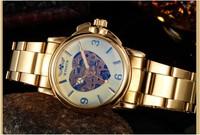 New 2014 Luxury Gold Plated Women Dress Watches Automatic Mechanical Self Wind Wristwatch Full Steel Clock Skull  Relojoes WN023