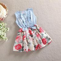 3-8Y New 2014 Summer Kids Clothes 100% Cotton Bowknot Denim Floral Casual Baby Dress Tutu Girls Dress Princess Girls Clothes