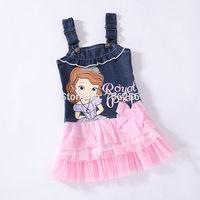 Free shipping 2014 Brand New Sofia the first girl girls winter summer Denim dress dresses 8pcs/lot OD23