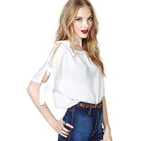 2014 new sexy Fashion sexy bow richcoco lacing short design loose fifth sleeve half sleeve chiffon shirt d366