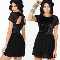 2014 new sexy Richcoco fashion sexy racerback patchwork short-sleeve o-neck chiffon one-piece dress d323