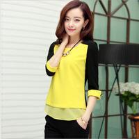 2014 blusas femininas women's blusa chiffon fashion Korean chiffon shirt blouses patchwork color cute blusa renda camisas