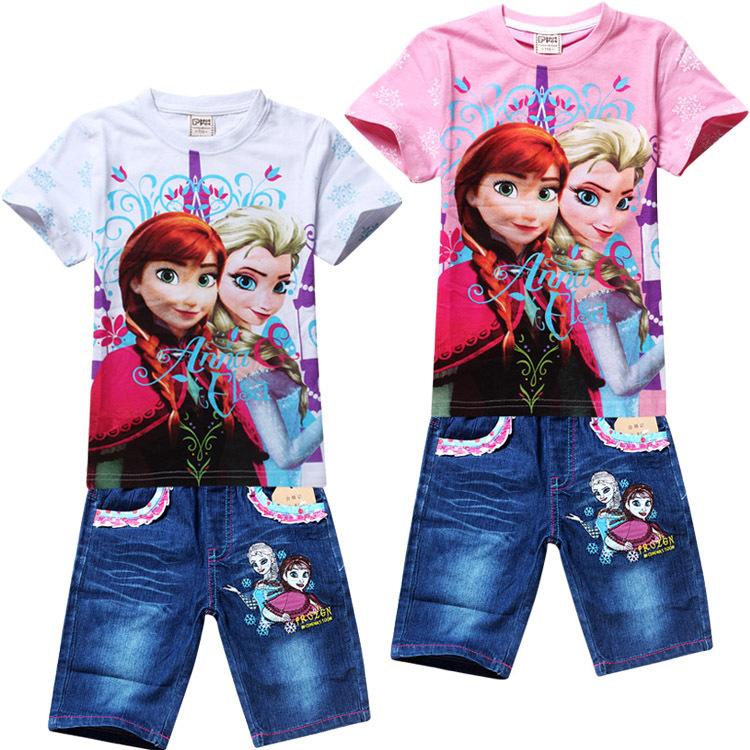 2-7yrs girls childrens tee shirt for 2014 summer kids top t shirt frozen cartoon suits Lycra design babys fashion clothing set(China (Mainland))