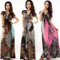 leopard print bohemia long beach summer women sexy Milk Silk dress Y0037