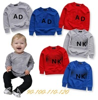 Retail 2014 new arrive brand ad nk long sleeves children t shirt 3 color 4pcs/lot children clothing boys brand t shirt