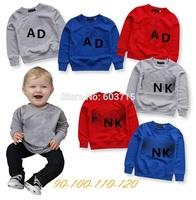 Retail 2014 new arrive brand ad nk long sleeves children t shirt 3 color 4pcs/lot children clothing boys brand t shirt