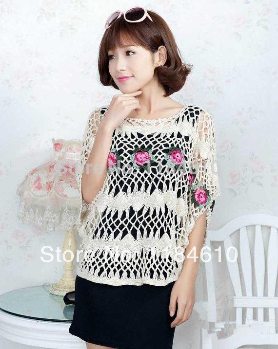 blusas femininas Floral Women Lace Blouse Cube Sleeve Hairpin Crochet Rose Pattern(China (Mainland))