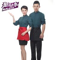 2014 unisex Hot sale  restaurant black red chef waist apron fashion cotton kichen half apron for men