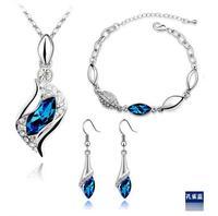 New 2014 European Blue Crystal Eyes Necklace & pendant Bracelets Earring Silver plated Jewelry set bijoux joyas bijuterias