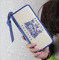 W09 2014 korea new designer women clutch fashion long wallet genuine PU leather coin purse 6 colors for women female