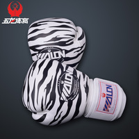 Fast shipping Fashion 40mm thickening leather leopard print pattern professional Sanda Boxing Gloves Fitness Sandbag Gloves