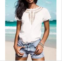 happy SZ Free Shipping!European style chest carved hollow bat sleeve chiffon shirt women's T-shirt shirt tops y xin 0333