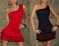 happy SZ   New fashion sexy club dresses sleeveless tight   figure shoulder lotus leaf collar flounced black and red solid