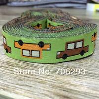 2014 NEW wholesale 5/8'' (16mmx10yards) Woven Jacquard Ribbon Green car Cartoon ribbon kt2014042202