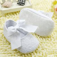White Bowknot Baby Girl Shoes Toddler Prewalker Anti-Slip Shoe Simple Baby Shoe Free &Drop shipping