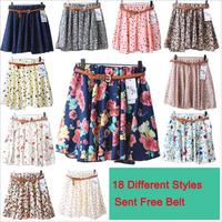 2014 New Spring Summber Korean Woman Chiffon skirt female Pleated Girls Skirts Short Skirts Women female skirt With Belt