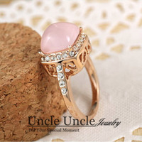 Sweet!!! 18K Rose Gold Plated High Quality Pink Opal Rhinestones Inlay Retro Lady Finger Ring Wholesale
