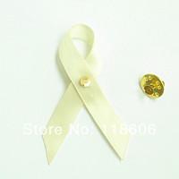 Free Shipping 500pcs Cancer Awareness Ribbon Bows with Brooch