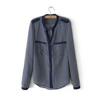 Women Fashion Color Patchwork prints Chiffon Shirts Ladies Casual V-neck Blouse,SW7108-H03
