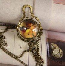 2012 Free shipping hot sale wholesale ladies mens New ball shell Cupid angel mini roman bronze quartz Pocket Watch Antique wp523