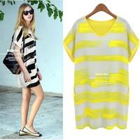 2014 Fashion stripe plus size beach dress color block mm loose bohemia one-piece dress for female
