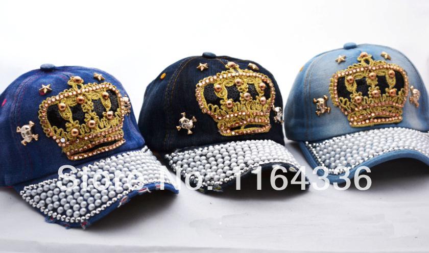 2014 NEW 1PCS(4 STYLES) Hat rhinestone print denim rivet sun-shading baseball cap autumn and winter women's cap(China (Mainland))